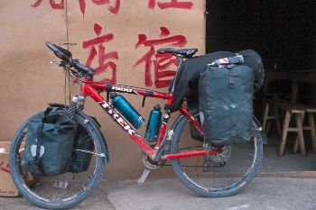 My bike heavy loaded for 4 days of cycling in Chang Tang