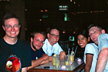 Happy hours in the local bar. From right Edwin, Inji, Erik, Stephane and me